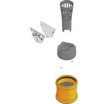 TOP X Anschluss-Set silber mit Stirnwand, Laubfang, Geruchsverschluss und Adapter DN/OD 75/110