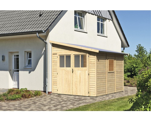 Gartenhaus Karibu Selbitz 3 mit Rankgitter 238 x 268 cm natur
