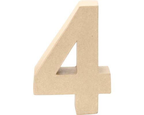 Zahl 4 Pappe 17,5x5,5 cm