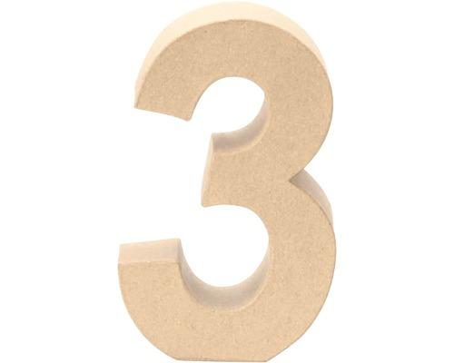 Zahl 3 Pappe 17,5x5,5 cm
