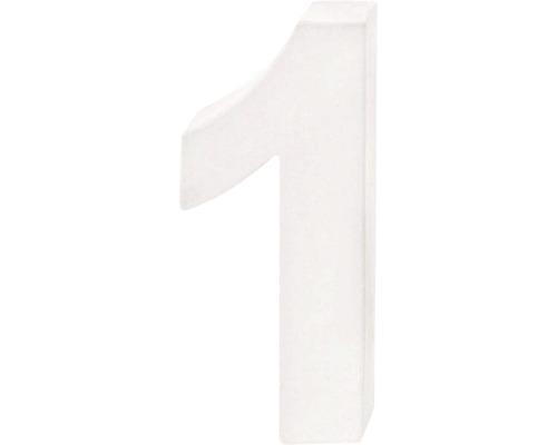 Zahl 1 Pappe weiß 3,5x10 cm
