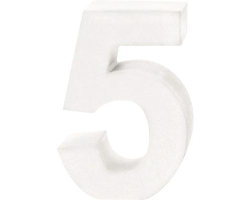 Zahl 5 Pappe weiß 3,5x10 cm