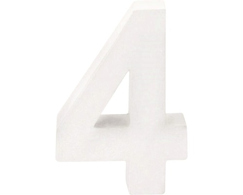 Zahl 4 Pappe weiß 3,5x10 cm