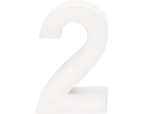 Zahl 2 Pappe weiß 3,5x10 cm