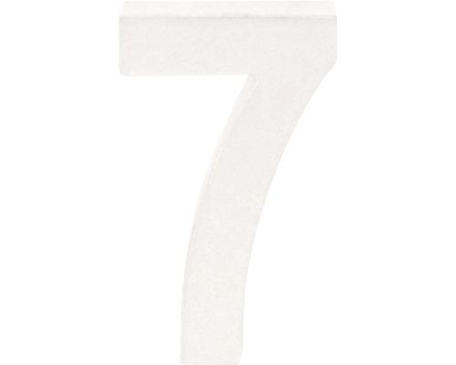 Zahl 7 Pappe weiß 3,5x10 cm