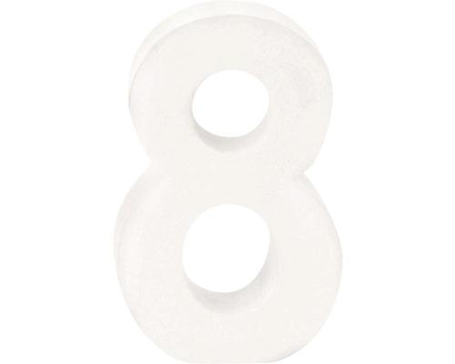 Zahl 8 Pappe weiß 3,5x10 cm