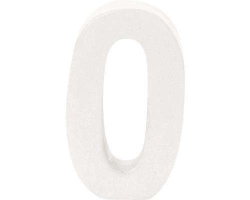 Zahl 0 Pappe weiß 3,5x10 cm