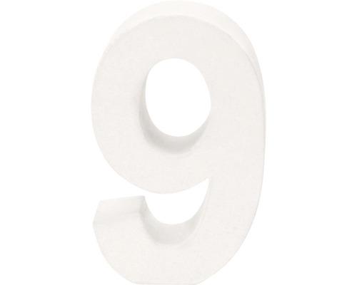 Zahl 9 Pappe weiß 3,5x10 cm