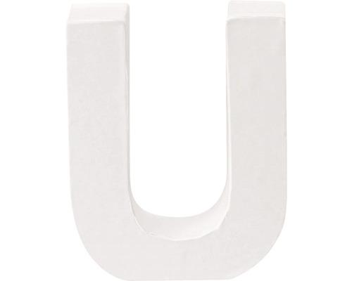 Buchstabe U Pappe weiß 3,5x10 cm