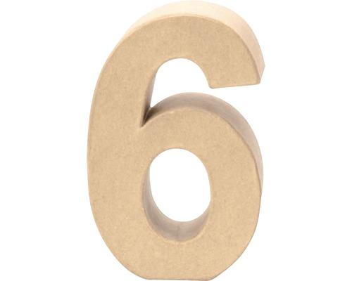 Zahl 6 Pappe 17,5x5,5 cm