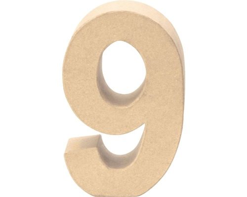 Zahl 9 Pappe 17,5x5,5 cm