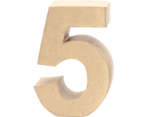 Zahl 5 Pappe 17,5x5,5 cm