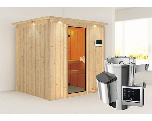 Plug & Play Sauna Karibu Sparset Maria inkl. 3,6 kW Ofen u.ext.Steuerung und Dachkranz
