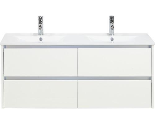 Badmöbel-Set Dante 120 cm mit Doppelwaschtisch Keramik weiß hochglanz
