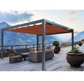 Pavillon Grau 500 x 300 cm Design 8207 rot ohne Senkrechtmarkise