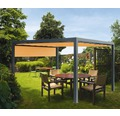 Pavillon Grau 500 x 600 cm Design 0867 orange mit Senkrechtmarkise