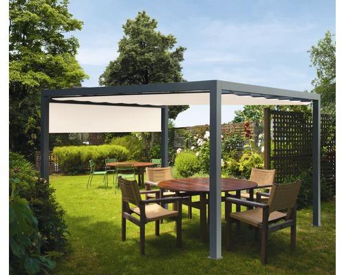 Pavillon Grau 500 x 600 cm Design 6020 beige mit Senkrechtmarkise