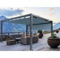 Pavillon Grau 400 x 600 cm Design 7558 petrol mit Senkrechtmarkise