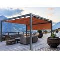 Pavillon Grau 500 x 400 cm Design 8207 rot mit Senkrechtmarkise