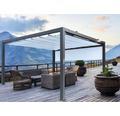 Pavillon Grau 500 x 300 cm Design 8903 blau mit Senkrechtmarkise
