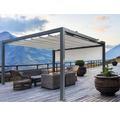 Pavillon Wismar 300 x 300 cm Dessin 320923 grau mit Senkrechtmarkise