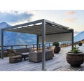 Pavillon Grau 500 x 400 cm Design 320925 grau mit Senkrechtmarkise