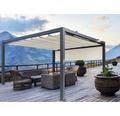 Pavillon Grau 400 x 400 cm Design 320930 beige mit Senkrechtmarkise