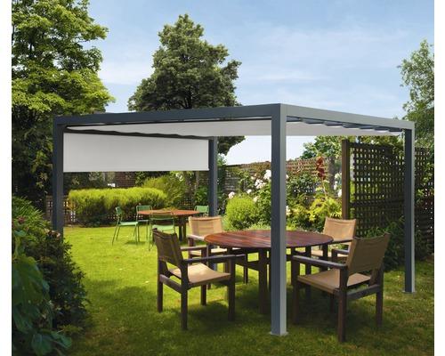 Pavillon Grau 500 x 600 cm Design 320923 grau mit Senkrechtmarkise