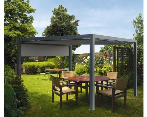 Pavillon Grau 500 x 300 cm Design 320925 grau mit Senkrechtmarkise