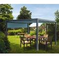 Pavillon Grau 500 x 600 cm Design 8901 blaugrau mit Senkrechtmarkise