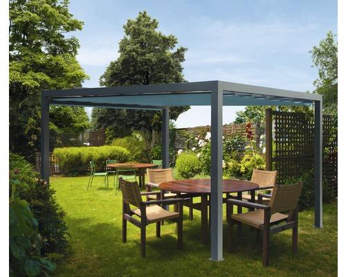 Pavillon Grau 500 x 500 cm Design 8901 blaugrau ohne Senkrechtmarkise