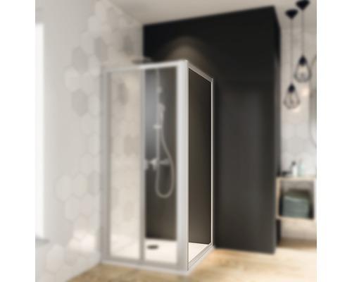 Seitenwand für Falttür Breuer Express Q72 Fara 4 90 cm Kunstglas Perle Profilfarbe silber matt