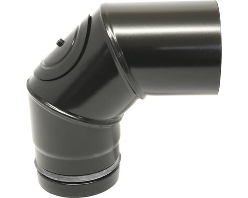 Pellet-Ofenrohr-Bogen Ø100 mm 90° mit Tür schwarz