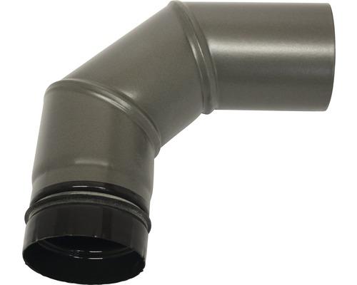 Pellet-Ofenrohr-Bogen Ø80 mm 90° ohne Tür gussgrau