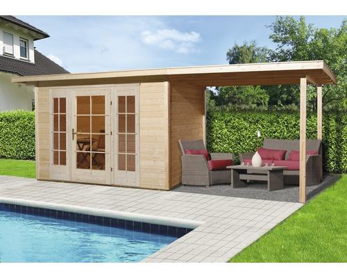 Gartenhaus weka Panorama 172 Gr.2 mit Fußboden und Anbau 300 cm 590 x 299 cm natur