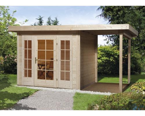 Gartenhaus weka Panorama 172 Gr.1 mit Fußboden und Anbau 385 x 239 cm natur