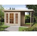 Gartenhaus weka Panorama 172 Gr.2 mit Fußboden und Anbau 150 cm 445 x 299 cm natur