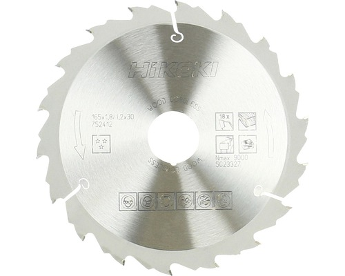Kreissägeblatt Hartmetall HiKOKI 165x30/20 mm Z18