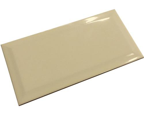 Metro-Fliese mit Facette crema glänzend 10 x 20 cm