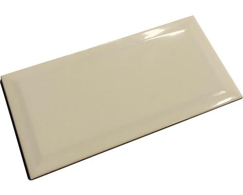 Metro-Fliese mit Facette creme joy glänzend 10 x 20 cm