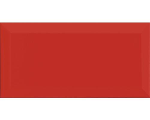 Metro-Fliese mit Facette rot glänzend 10x20 cm
