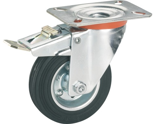 Tarrox Transport-Geräte-Lenkrolle, bis 100 kg, mit Platte und Totalfeststeller, 125 x 157 x 37 mm