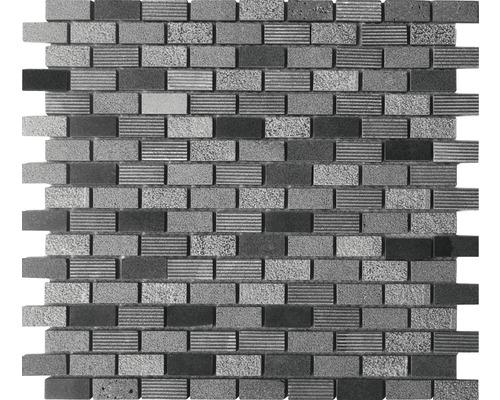 Naturstein Mosaik rechteckig anthrazit 30x30 cm