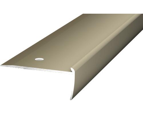 Treppenkantenprofil Alu für PVC edelstahl matt 2,5x19x2500 mm
