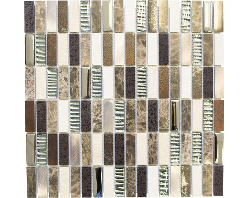 Glasmosaik mit Naturstein XCM SM48 braun 29,8x30,4 cm