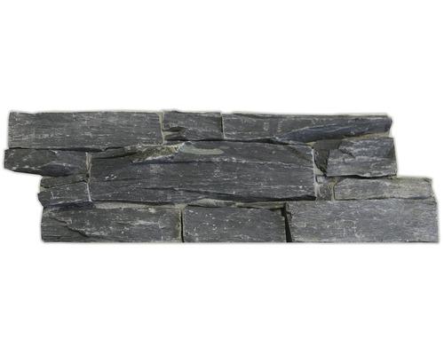 Wandverblender Naturstein Schiefer auf Zement schwarz 22 x 55 cm