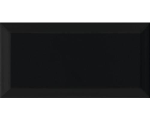 Metro-Fliesen mit Facette schwarz glänzend 10x20 cm