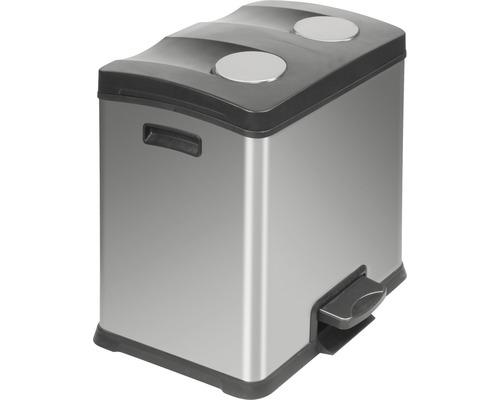 Treteimer 2x12 Liter matt edelstahl