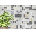 Glasmosaik mit Naturstein XCM MC619 grau/braun 30x30 cm