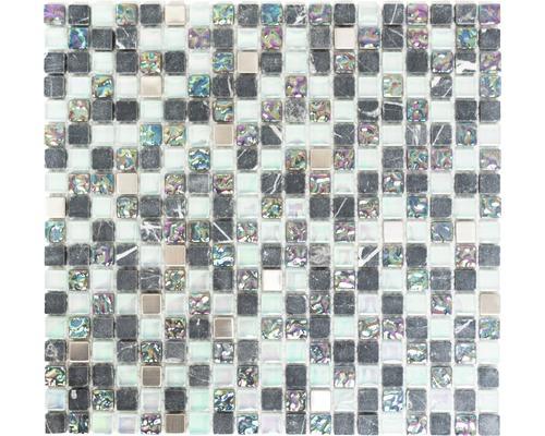 Glasmosaik mit Naturstein XCM M840 1,5x1,5 cm